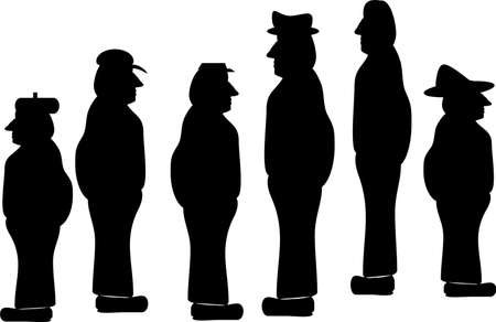Silhouette illustrations of mature blue collar workers