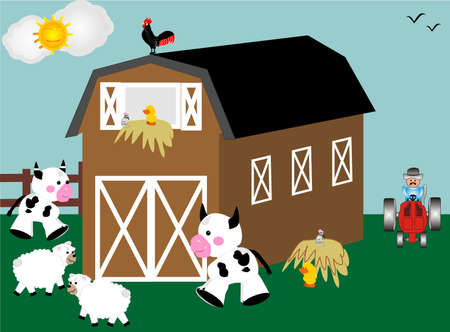 red barn:  barn, tractor and farm animals in Barnyard  Illustration