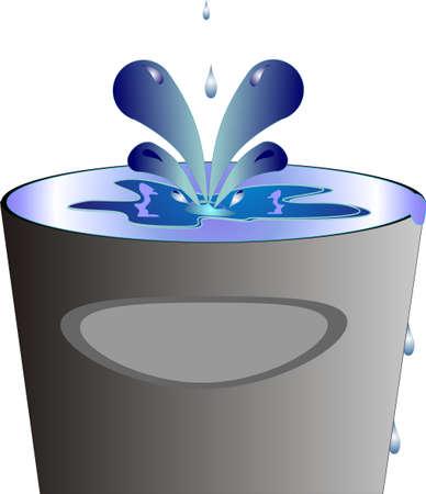 seau d eau: �claboussures de liquides dans les conteneurs et plus de couler ... Conceptuel avec de nombreux accords Illustration