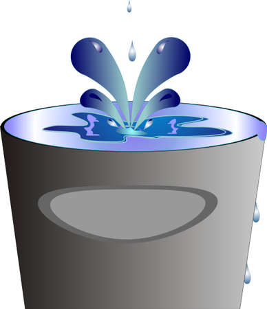 liquid splashing into container and over flowing... Conceptual with many understandings Vector