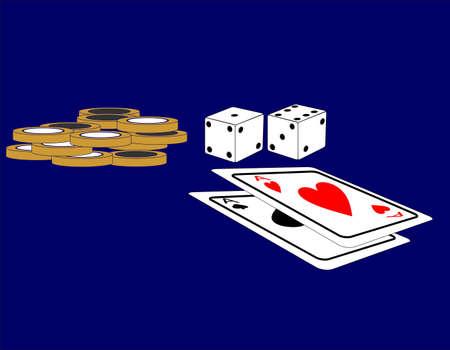 bluff: Coppia di dadi e una coppia di assi, con chip a scommettere con