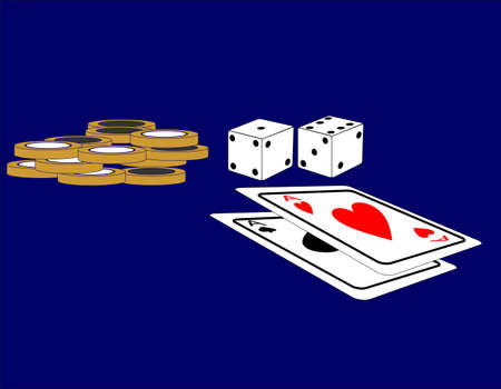Pair of dice and a pair of aces, with chips to bet with.. Vector