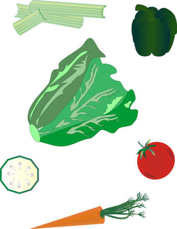 group of healthy vegetables to make a  colourful salad with