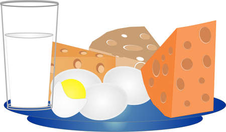 乳製品、農産物、健康および栄養の完全  イラスト・ベクター素材