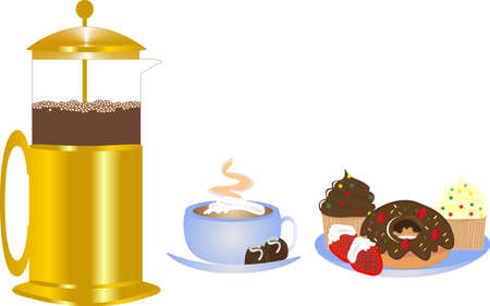 Delightful coffee from coffee press with whipped cream, served with delectable delights