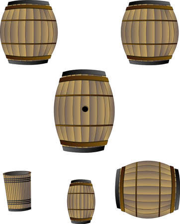 Illustration of various vintage oak wooden barrels.. Illustration