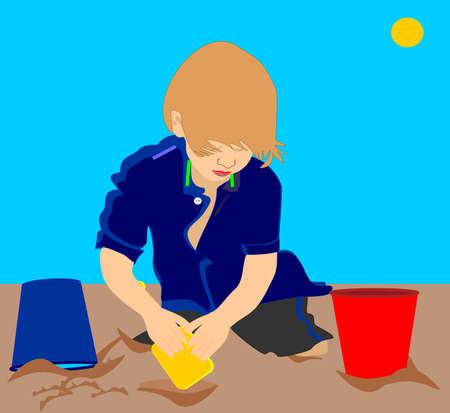 모래 그림에서 재생 어린 아이