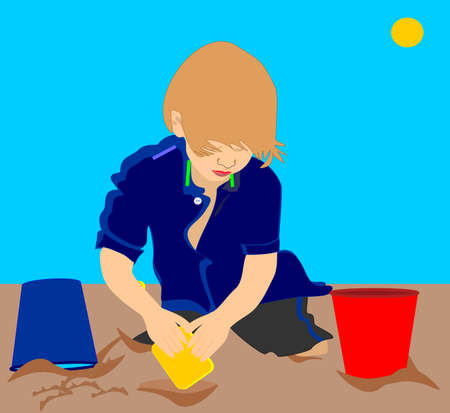 A young child playing in the sand illustration Vector