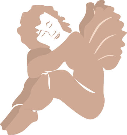 awaiting:  Cherub or fairy  , resting in peace, awaiting a rejuvenation..relaxing Great for spa,  transcendental meditation, and many more... Illustration
