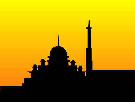 history architecture: Mosque silhouette adorning the beautiful evening sunset Illustration