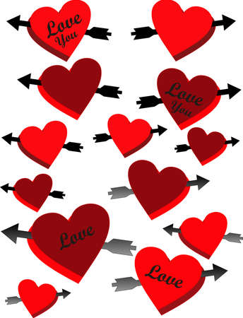 Arrows piercing red and burghandy hearts in love for your favorite occassions..