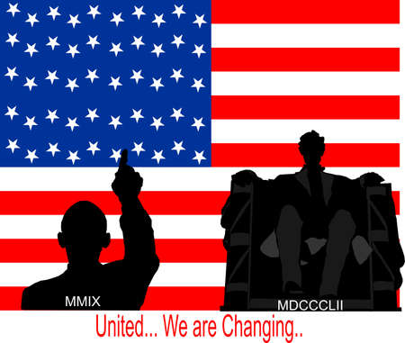 President Obama and Abe Lincoln in front of flag, representing change in US... Vettoriali