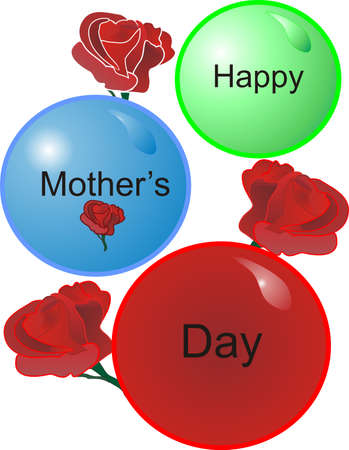 Roses and balls for the Mom we love, on Mothers day 일러스트