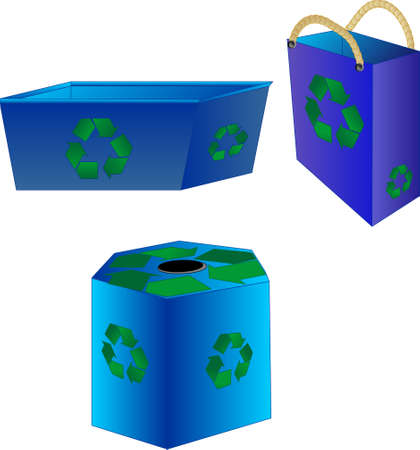 wastes: Recycle containers, making our lives less cluttered with dump wastes Illustration