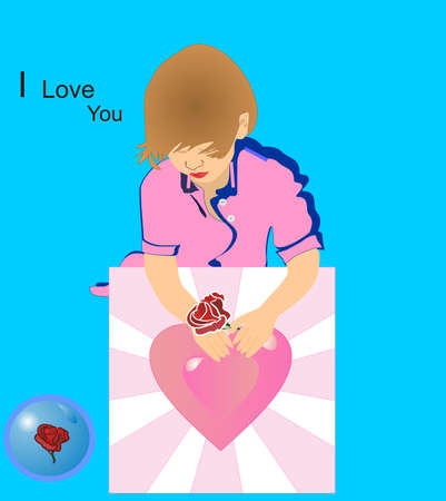 Child holding card and rose, for Mom, hoping she gets this soon... Ilustrace