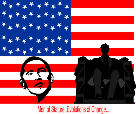 abe: President Barack Obama, and Abe Lincoln, Men of stature, changes, past to present, creating a new hope for U.S.A.  Editorial