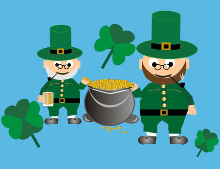 Leprechauns with their iron kettle filled with gold coins, and lucky clover  ..Cheers.. awaiting your presence here.. Vector