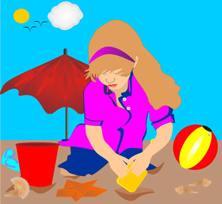 Young lady, playing on beach with toys, while on vacation Stock Vector - 4225220