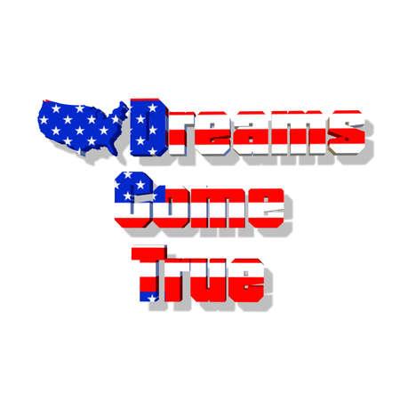 American Flag with Dreams come true... the future.. Ilustrace