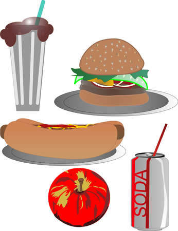 plate of food: Hotdog,hamburger, milkshake, soda and an apple illustration clip art
