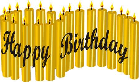 21 Happy Birthday candles Illustration