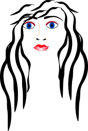 Illustration of a sensuous lady, who has tears flowing from her eyes.. Stock Vector - 4225223