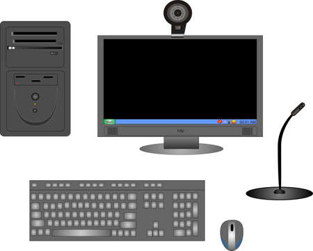 Parts of a complete black computer, with monitor,CPU, keyboard, mouse, cam and microphone..