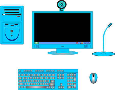 electronic board: Parts of a complete blur or cyan computer, with monitor,CPU, keyboard, mouse, cam and microphone.. Illustration