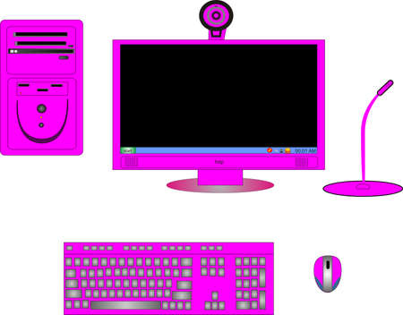 Parts of a complete pink or magenta computer, with monitor,CPU, keyboard, mouse, cam and microphone..