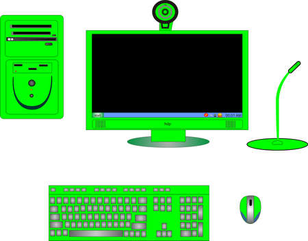 Parts of a complete green computer, with monitor,CPU, keyboard, mouse, cam and microphone.. Vector