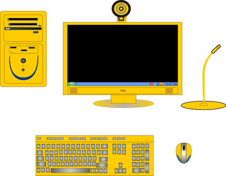 Parts of a complete yellow computer, with monitor,CPU, keyboard, mouse, cam and microphone.. Vector