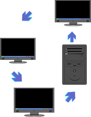 Computer networking illustration with CPU, directional arrows also Stock Vector - 4225258