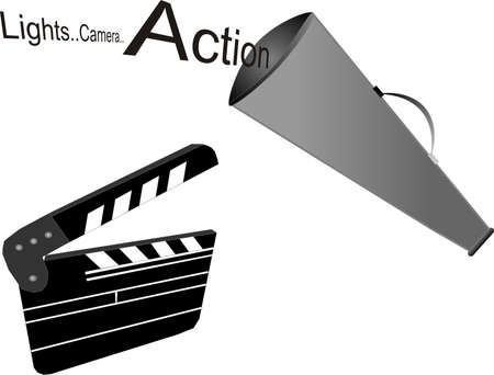 cinematic: Lights..Camera.. Action.. from the movie set with megaphone and clapboard.