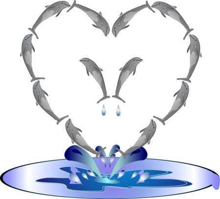 disposition: Dolphins in the formation of a heart, jumping out of the water, in frolic..