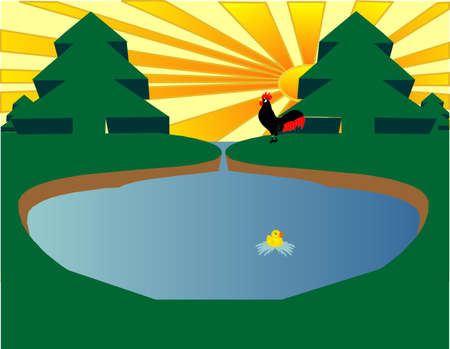 Eco pond with a rooster awakening the day and a duck swimming in pond Stock Vector - 4225261