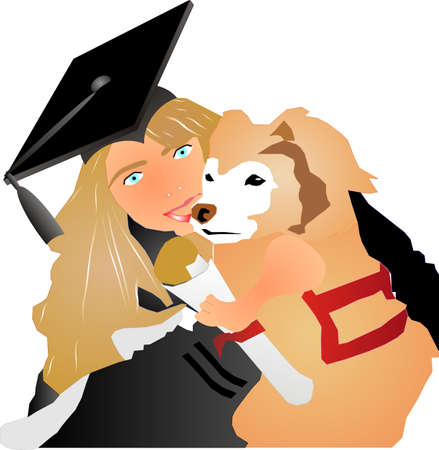 Young lady, holding her dog, as they are Graduates Stock Vector - 4225262