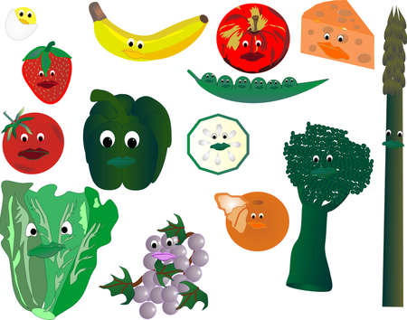 Happy, smiling veggies and fruits, farm fresh Vector