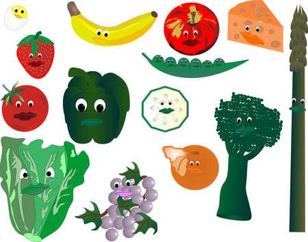 Happy, smiling veggies and fruits, farm fresh Vector