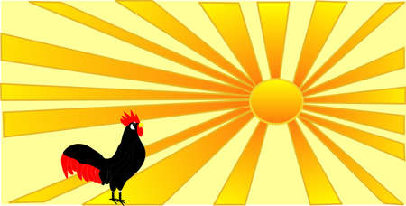 bringing: A rooster bringing on the new day, as the sun rises  Illustration