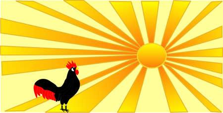 new day: Un gallo portando il nuovo giorno, mentre il sole sorge Vettoriali