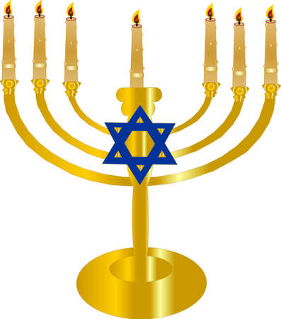 hanukah: the 7 branch  Menorah -symbol of Jewish faith Illustration