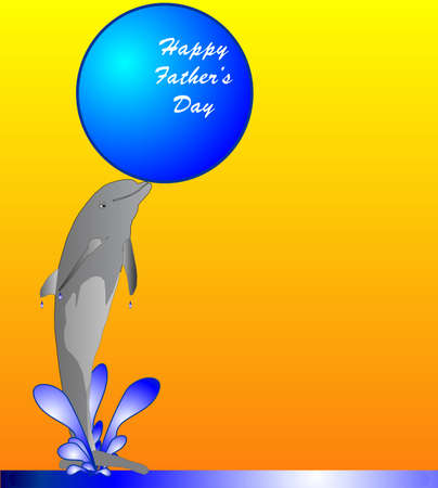 sea cow: Happy Fathers Day dolphin jumping in the water playing