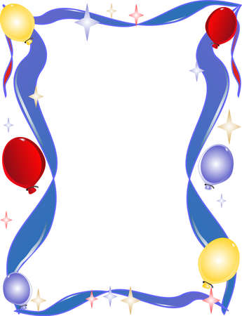 ribbons: Background of ribbons, balloons, and stars with copy space Illustration
