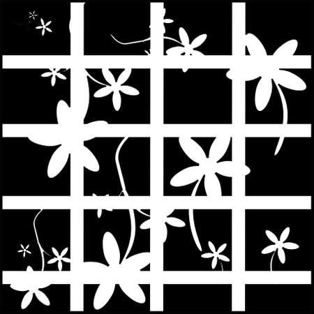 Black and white, retro floral background illustration