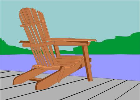 Adirondack stoel zittend op een dok, met uitzicht op het water .. wachten op iemand die geniet van het uitzicht .. Stock Illustratie