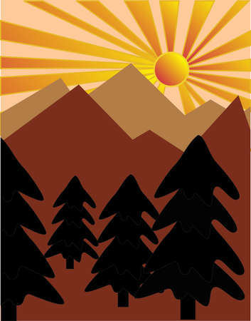 Coniferous trees on a hill as the sun starts to set in the background. Vector
