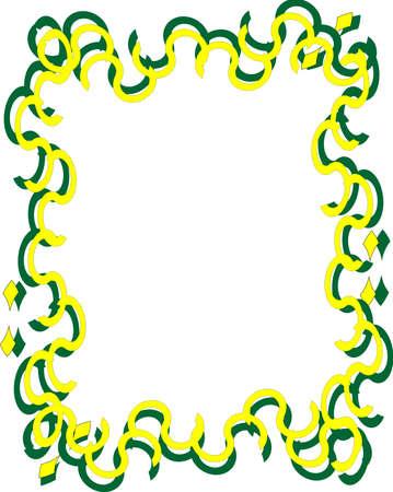 黄色と緑の波線が両側のアウトラインの背景