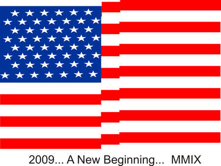 beginnings: USA flag, waving proudly in the air.. 2009.. new beginnings