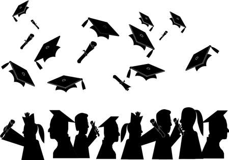 tassels: Group of people who have graduated from their different learning fields.. Illustration