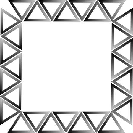 balck: Balck gradient triangles formed into a rectangle to make  a frame or border background, over white.